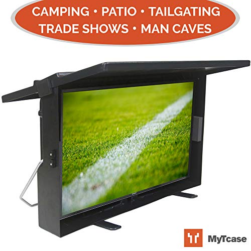 MYTCASE: Protective TV Carrying Case for Tailgating, Camping, Backyard BBQ, and Travel - Transport + Secure + Display Your LED TV, Black