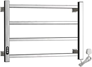 RDREAM 4-Bar Wall Mounted Towel Warmer and Drying Rack, Electric Towel Warmer with Built-in Timer, Hardwired and Plug in Options, Stainless Steel, Polished,1
