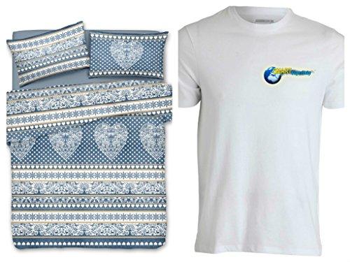 Smartsupershop Housse de couette pour lit double Tyrol tyrolien avec cœurs – Couleur bleue – avec taies d'oreiller – en coton