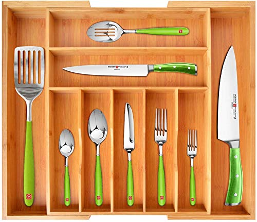 Bamboo Kitchen Drawer Organizer - Expandable Silverware Organizer/Utensil Holder and Cutlery Tray with Grooved Drawer Dividers for Flatware and Kitchen Utensils (9 Slots)