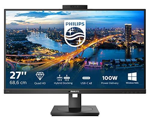 Philips Monitor 276B1JH de 68 cm (27 Pulgadas) (HDMI, DisplayPort, USB-C, RJ45, hub USB, 2560 x 1440, 75 Hz, FreeSync, Webcam), Color Negro