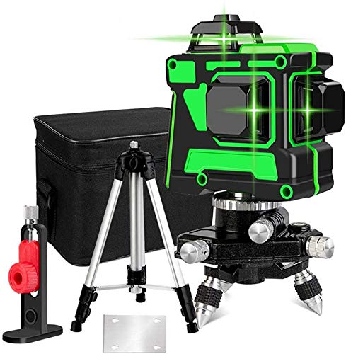 J & J Laser Level 12 Lines 3D Self-Leveling 360 Cross And Vertical Super Powerful Green Laser Beam Line with Tripod