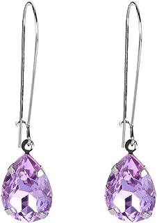 Women's Austrian Crystal Elegant Teardrop Hook Dangle Earrings Silver-Tone