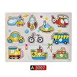 FC Carta número grande Tamaño del bebé Montessori rompecabezas de madera de la mano Junta Grab Set Juguetes educativos Infantil de dibujos animados de Matemáticas Puzzle regalo niños ( Color : A3007 )