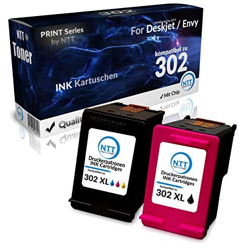 NTT 2 cartuchos de tinta XL de repuesto para HP302 XL, compatibles con HP Officejet 3831 3830 5230 5220 para HP DeskJet 3630 2130 3636 para HP Envy 4520 4525 4522