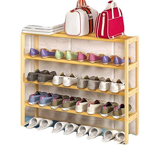 GENFALIN Bastidores del zapato multi-capa de zapatero simple prueba de polvo de almacenamiento en rack 82 (L) X15 (W) X68 (H) CM Ahorro de espacio Fácil Ensamble (Color: Natural, tamaño: 82 * 15 * 68c
