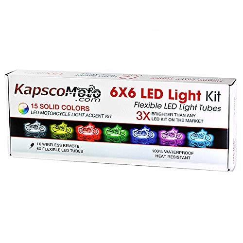 Kapsco Moto Motorcycle LED 15 Color LED Engine Accent Light Tube Kit - with 1x Wireless Remote - Universal Fit -Compatible with Harley, Cruisers, Honda, Suzuki, Kawasaki, Yamaha