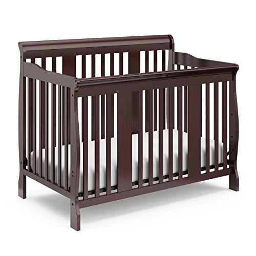 Storkcraft Tuscany 4-in-1 Convertible Crib, Espresso, Easily Converts to Toddler Bed, Day Bed or Full Bed, 3 Position Adjustable Height Mattress (Mattress Not Included)