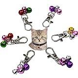 6 campanas de collar para gatos y perros, campanas para decoración y entrenamiento de mascotas, llaveros coloridos con clips