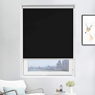 Acholo Blackout Roller Shades Black Roller Blinds for Windows 31 inch x 72 inch, Cordless Window Roller Shade for Home