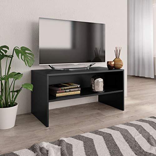 vidaXL Mueble TV Estante Mesa Baja Televisión Aparador Televisor Módulo Diseño Simple Compartimento Salón Habitación Comedor Sala Aglomerado Negro