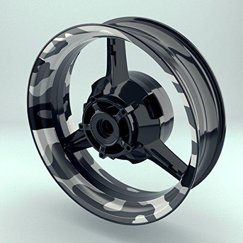 Felgenrandaufkleber Motorrad 4er Komplett-Set (17 Zoll) - Felgenaufkleber Camouflage Snow (schwarz-weiß) (Design 3 - matt)