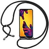 Ingen Funda con Cuerda para Huawei P20 Lite - Carcasa Transparente TPU Suave Silicona Case con Colgante - Negro