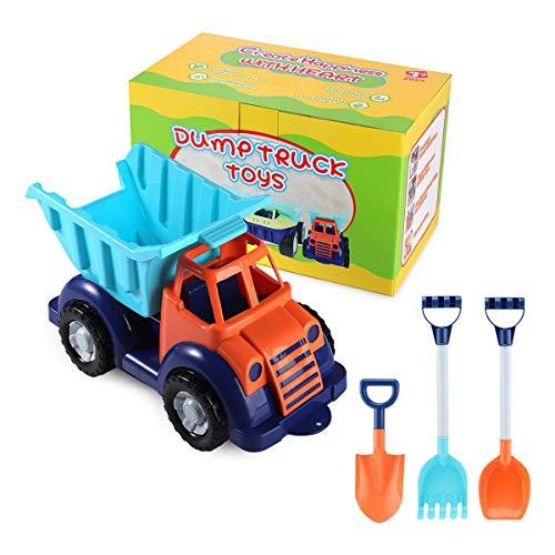 SHANNA Camión de Juguete Grande, Dumper Juguete de Playa y Arena para Niños Vehículo Grande con Rastrillo de Palas Grandes para Cumpleaños de Niños/Regalos Navideños (Camión C)