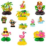OSNIE 12Pcs Hawaiian Luau Honeycomb Centerpieces Table Topper Summer Tropical Aloha Flamingo Palm Tree Theme Party Supplies Table Decorations Hawaii Party Favors Photo Booth Props for Kid's Birthday