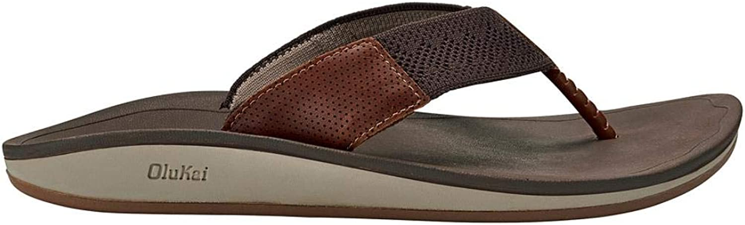 OluKai Mens Nohonaulana Thong Sandal, Dark Wood, 10 M US