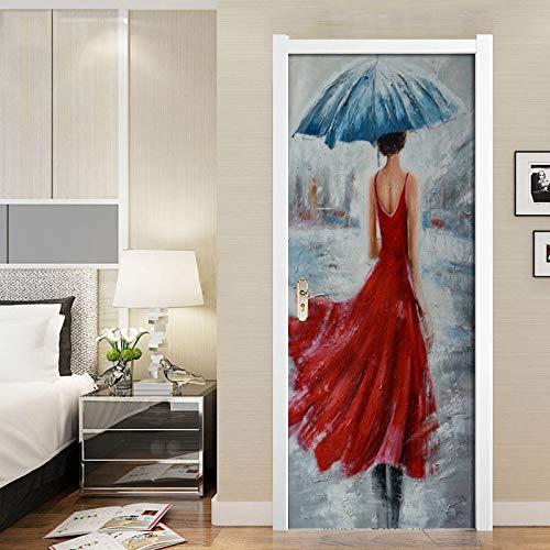 Mural Para Puerta Mujer Bajo La Lluvia Vista Trasera Pintura Al Óleo Salón Dormitorio Desmontable Autoadhesivo Papel Pintado Puertas 90 X 200 cm