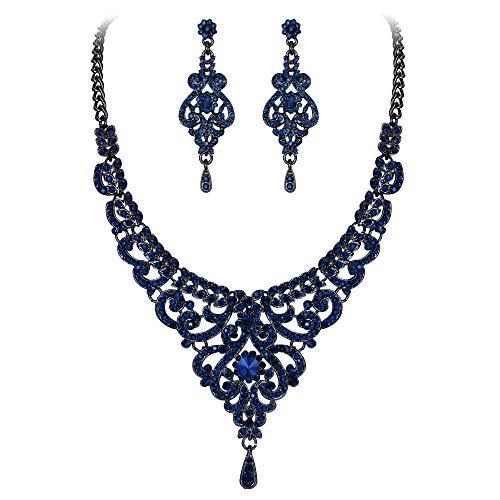 EVER FAITH Women's Austrian Crystal Elegant Bridal Vase Flower Necklace Earrings Set Blue Black-Tone