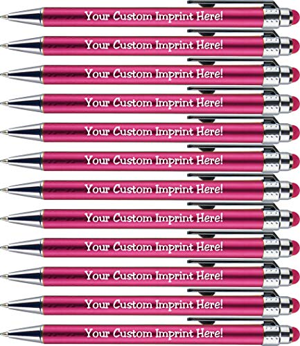 Personalized Pens with Stylus Tip -Bright Lights- Click action - Custom - Black writing - Printed Name pens - Imprinted with Your Logo or Message - FREE PERSONALIZATION - 12 Pens/Box (Pink)