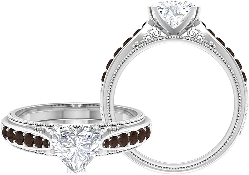 1.75 CT Heart Shaped Moissanite specialty shop Ring Quart with Engagement Smoky Ranking TOP7