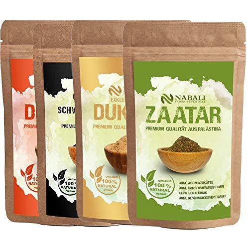 NABALI FAIRKOST FÜR ALLE Zaatar & Dukkah & Schwarzkümmel & Dukkah leicht scharf Qualitätsware aus Palästina je 100 g I 100% naturell aromatisch traditionell orientalisch I ohne Zusätze I vegan