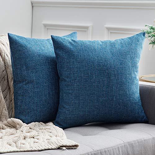 MIULEE 2er Pack Leinenoptik Home Dekorative Kissenbezug Kissenhülle Kissenbezug für Sofa Schlafzimmer Auto mit Reißverschlüsse 50x50 cm Blau