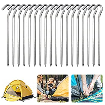 Piquets de Tente en Aluminium, 18 Pièces 18cm Clous de Tente Crochets de Tente Piquet Tente Sol Dur Piquets de Tente Camping Sardines Camping, pour Le Jardinage Camping Tentes