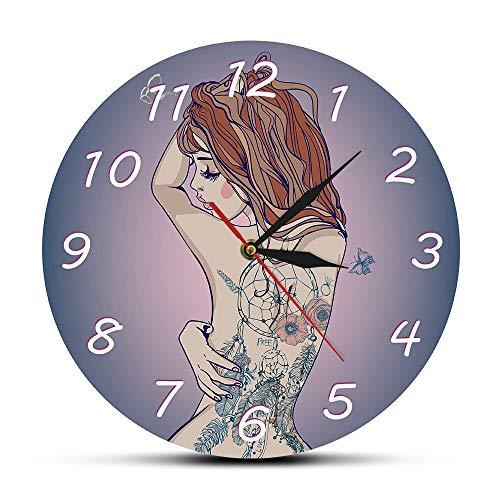 GAVA Reloj de cocina Joven Hermosa Mujer Con Tatuaje Reloj de Pared Sexy Perfecto Cuerpo Tatuajes Tatted Back Silencioso Reloj de Pared Tatuaje Estudio Signo