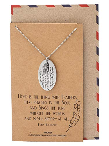 Quan Jewelry Feather and Engraved Oval Plate Pendants Necklace, Motivational Gifts for Her, Inspirational Jewelry for Women