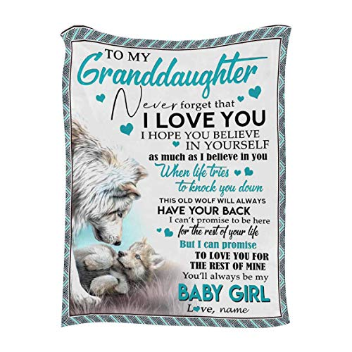 """Custom Blanket with Your Name & Message - to My Granddaughter from Grandpa or Grandma, Never Forget That I Love You - Personalized Throw Blanket(40""""x50"""") Super Soft for Family Birthday Gifts"""