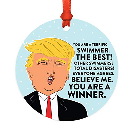 Andaz Press Round Natural Wood MDF Christmas Ornament Gift, Funny President Donald Trump, Terrific Swimmer, 1-Pack, Includes Ribbon, Keepsake Birthday Christmas Gifts