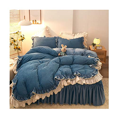 Uni Doppelbett Bettbezug Winter Netto Celebrity Prinzessin Wind Flanell Bett Rock Vierteilige Steppdecke Dicke Warmkristall Coral Fleece-Bettwäsche Bettwäsche-Sets (Color : A, Size : 1.5m)