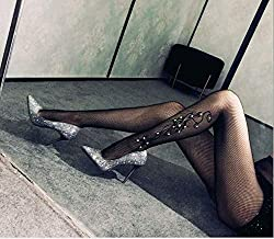 Instagram Fashion Inspired Womens One Size Tight Fishnet Thigh | Stylish High Stockings Pantyhose with Choice of Holes and Diamond, Compression Stockings Sexy Suspender for Women (Black, W53)