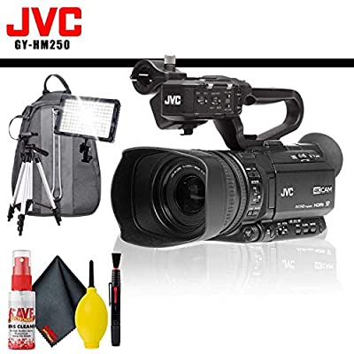 JVC GY-HM250 UHD 4K Streaming Camcorder with Built-in Lower-Thirds Graphics + Backpack + LED Light + Tripod + Cleaning Kit from JVC