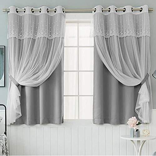 Fly scherm deur Vitrage, Prinses stijl Solid kleur Bad- for woonkamer slaapkamer vloer tot het plafond ramen Invisible zand gordijn (Color : LightGrey, Size : 250x270cm)