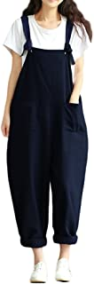 Women's Strap Overall Pockets Bib Baggy Playsuit Pants Casual Sleeveless Jumpsuit Trousers