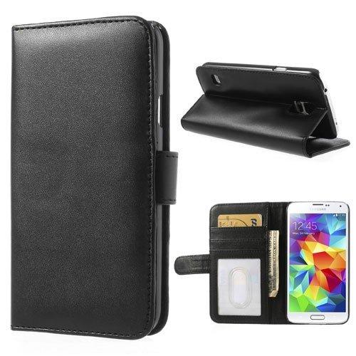 NALIA Cover a Libro compatibile con Samsung Galaxy S5 S5 Neo, Flip-Cover Portafoglio Sottile Wallet Case Protettiva Ecopelle Vegan, Telefono Protezione Custodia Cellulare Bumper - Nero