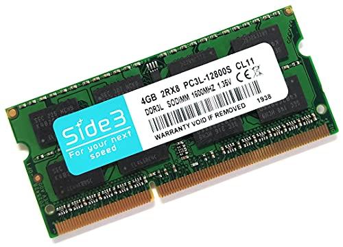 Side3 ノートPC用メモリ PC3L-12800(DDR3L-1600) 2Rx8 サムスンチップ 4GB 2Rx8 1.35V 1.5V 両電圧対応