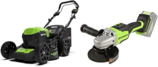 Greenworks Cortacésped batería GD24X2LM46SPK4X + Amoladora Angular inalámbrico GD24SAG