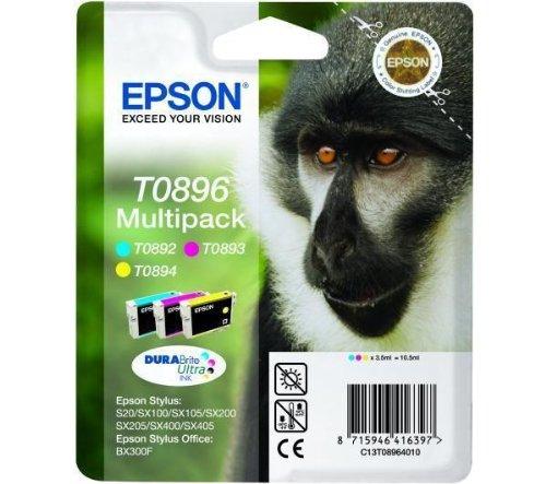 Epson T0896 Cartucho de inyección de tinta DuraBrite cian Magenta y amarillo Ref T08964010 [Pack 3]