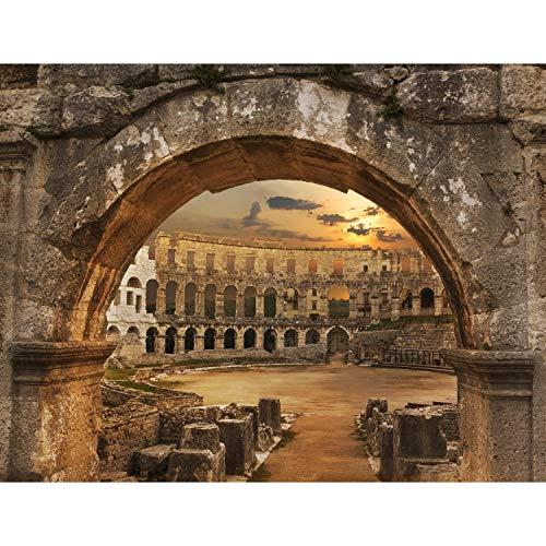 Fotobehang Colosseum Rome Fleece Wallpaper Woonkamer Slaapkamer Kantoorgang Decoratie Muralen Moderne Wanddecoratie - 100% Made in Germany - 9130aP 352 x 250 cm - 8 sheet stripes A