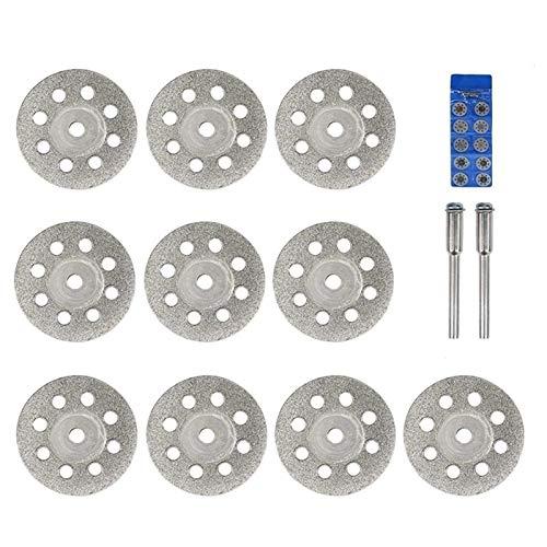 YUNJINGCHENMAN Sierra de Diamante de la Hoja 20 mm 22 mm 25 mm 30 mm con Mandril for Herramientas Dremel Rotary Mini Diamante Disco de Corte (Color : 12pcs 30mm Set)