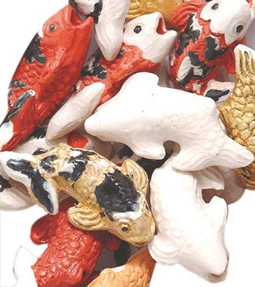 Peruvian 10 by 17mm Hand Crafted Ceramic Koi Fish Beads, Mix, 10 per Pack