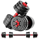 Weights Dumbbells Barbell Set – 2 x 22 lbs Adjustable Dumbbell Set – Weight Sets for Home Gym – Includes Connecting Rod – Anti-Slip Padded Design – Ideal for Men and Women, Home (44lbs)