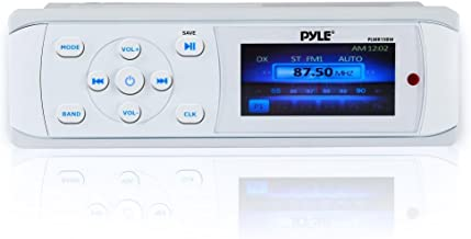 Pyle Bluetooth Marine Stereo Radio - Waterproof/Weather Proof Single DIN 12v Boat Receiver with Digital Color LCD, RCA, MP3/USB, AM FM Radio - Wiring Harness, Remote Control - PLMR15BW (White)