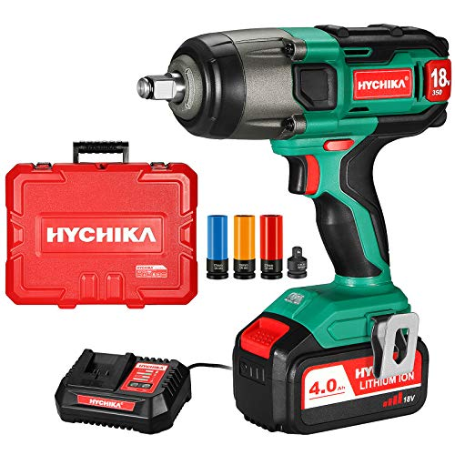 Cordless Impact Wrench, HYCHIKA 350Nm Impact Driver with 4.0Ah 18V Battery,...