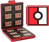 JINGDU Estuche de Tarjetas de Juego para Nintendo Switch Estuche Protector a Prueba de Golpes con 12 Ranuras para Cartuchos para Switch NS NX (Pokebola)