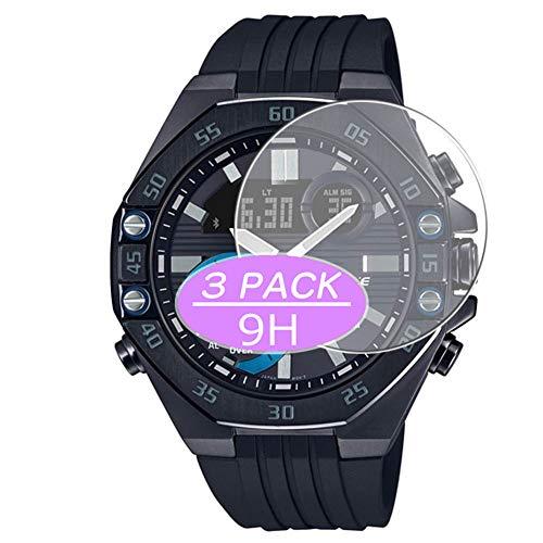VacFun 3 Piezas Vidrio Templado Protector de Pantalla, compatible con CASIO EDIFICE ECB-10, 9H Cristal Screen Protector Protectora Reloj Inteligente NEW Version