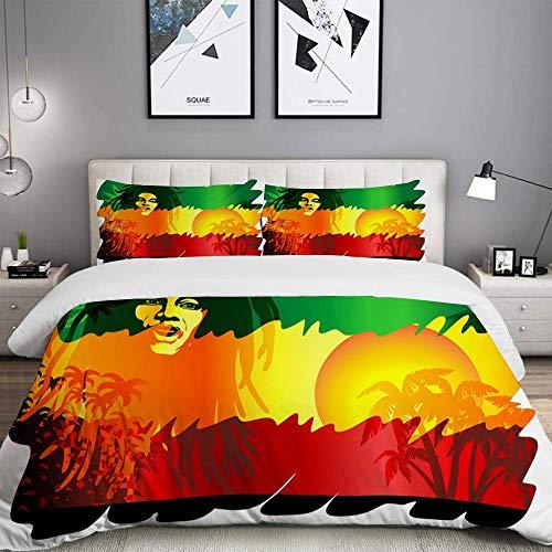 788 Drivico - Juego de cama de microfibra, diseño de Rasta con sol y palmeras, 1 funda nórdica de 200 x 200 cm y 2 fundas de almohada de 80 x 80 cm