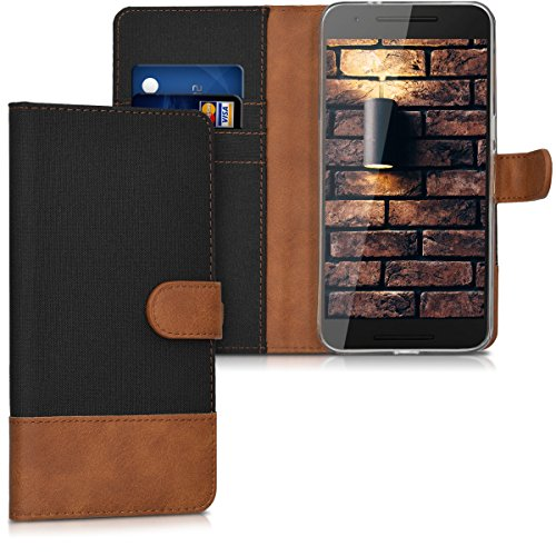 Wallet Case Compatible with Huawei Google Nexus 6P - Fabric Faux Leather Cover with Card Slots, Stand -